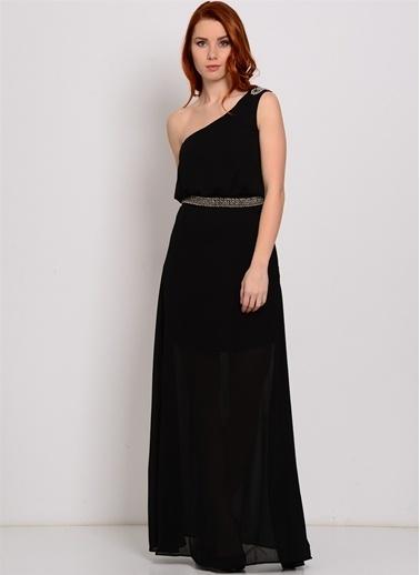 Zibi London Tek Omuz Uzun Abiye Elbise Siyah
